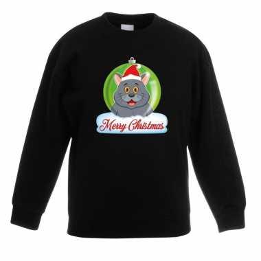 Kersttrui grijze kat / poes kerstbal zwart voor jongens en meisjes ko