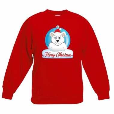Kersttrui ijsbeer kerstbal rood voor jongens en meisjes kopen