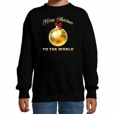 Kersttrui / kerstkleding zwart merry christmas to the world kinderen kopen