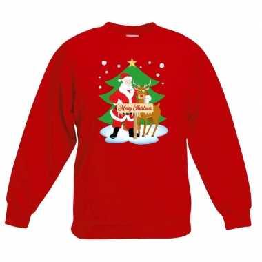 Kersttrui kerstman en rendier voor kerstboom rood voor jongens en mei