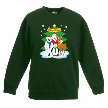 Kersttrui kerstman en vrienden voor kerstboom groen voor jongens en m