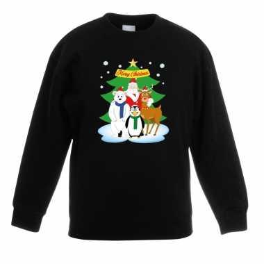 Kersttrui kerstman en vrienden voor kerstboom zwart voor jongens en m