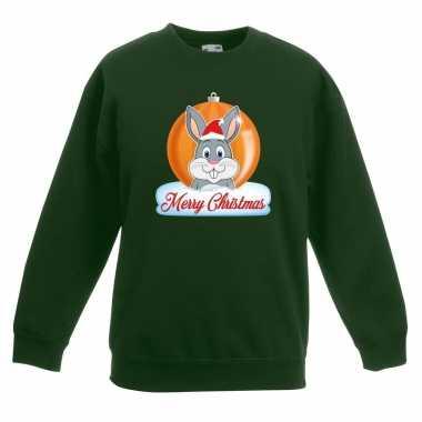 Kersttrui konijn kerstbal groen voor jongens en meisjes kopen