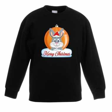 Kersttrui konijn kerstbal zwart voor jongens en meisjes kopen