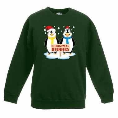 Kersttrui met 2 pinguin vriendjes groen voor jongens en meisjes kopen