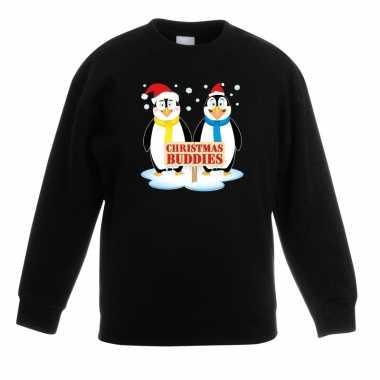 Kersttrui met 2 pinguin vriendjes zwart voor jongens en meisjes kopen