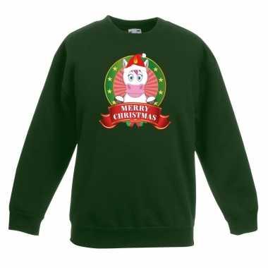 Kersttrui met eenhoorn groen voor jongens en meisjes kopen