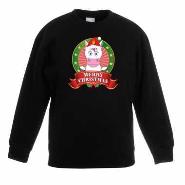 Kersttrui met eenhoorn zwart voor jongens en meisjes kopen