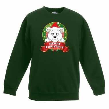 Kersttrui met ijsbeer groen voor jongens en meisjes kopen