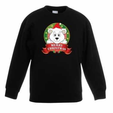 Kersttrui met ijsbeer zwart voor jongens en meisjes kopen