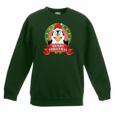 Kersttrui met pinguin groen voor jongens en meisjes kopen