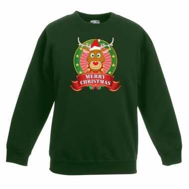 Kersttrui met rudolf het rendier groen voor jongens en meisjes kopen