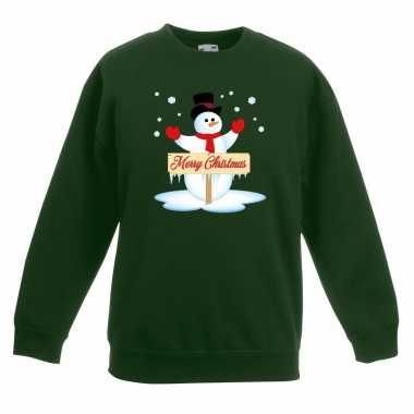 Kersttrui met sneeuwpop groen voor jongens en meisjes kopen