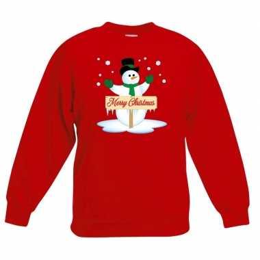 Kersttrui met sneeuwpop rood voor jongens en meisjes kopen