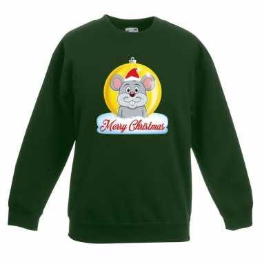 Kersttrui muis kerstbal groen voor jongens en meisjes kopen