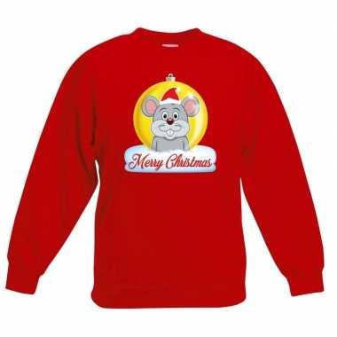 Kersttrui muis kerstbal rood voor jongens en meisjes kopen