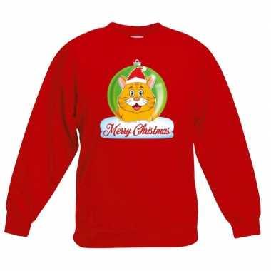 Kersttrui oranje kat / poes kerstbal rood voor jongens en meisjes kop