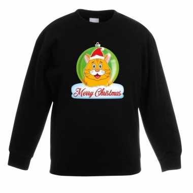 Kersttrui oranje kat / poes kerstbal zwart voor jongens en meisjes ko