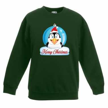 Kersttrui pinguin kerstbal groen voor jongens en meisjes
