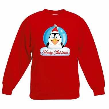 Kersttrui pinguin kerstbal rood voor jongens en meisjes kopen