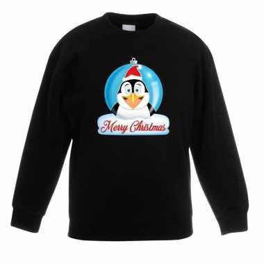 Kersttrui pinguin kerstbal zwart voor jongens en meisjes kopen