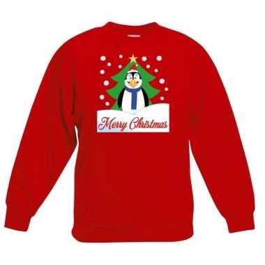 Kersttrui pinguin voor kerstboom rood voor jongens en meisjes kopen