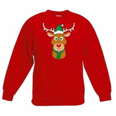 Kersttrui rendier rudolf met groene muts rood voor jongens en meisjes