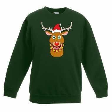 Kersttrui rendier rudolf met rode muts groen voor jongens en meisjes