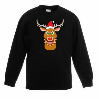 Kersttrui rendier rudolf met rode muts zwart voor jongens en meisjes