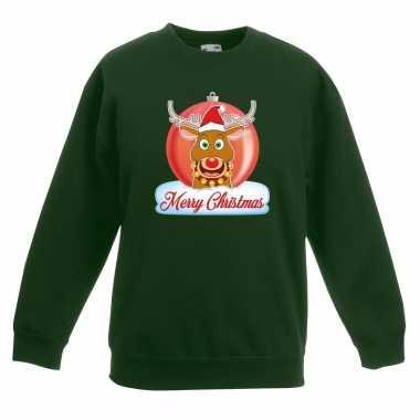 Kersttrui rudolf kerstbal groen voor jongens en meisjes kopen