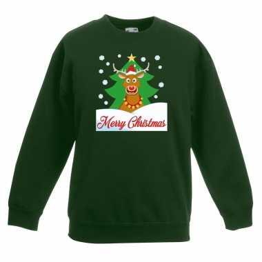 Kersttrui rudolf voor kerstboom groen voor jongens en meisjes kopen