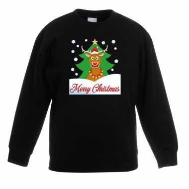 Kersttrui rudolf voor kerstboom zwart voor jongens en meisjes kopen