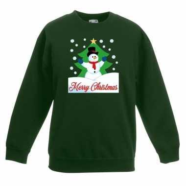 Kersttrui sneeuwman voor kerstboom groen voor jongens en meisjes kope