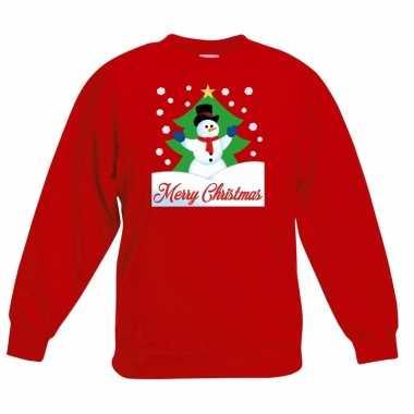 Kersttrui sneeuwman voor kerstboom rood voor jongens en meisjes kopen