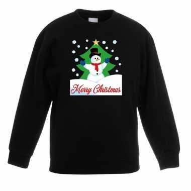 Kersttrui sneeuwman voor kerstboom zwart voor jongens en meisjes kope