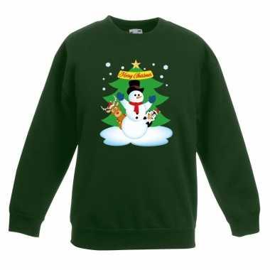 Kersttrui sneeuwpop en vrienden voor kerstboom groen voor jongens en meisjes