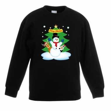 Kersttrui sneeuwpop en vrienden voor kerstboom zwart voor jongens en