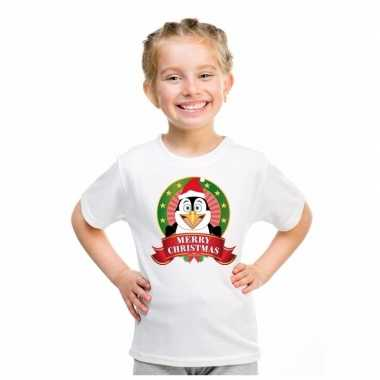 Pinguin kerstmis shirt wit voor jongens en meisjes