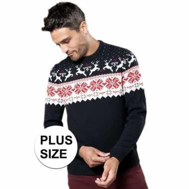 Plus size navy/witte foute/lelijke gebreide kersttrui met noorse prin