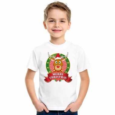 Rendier kerstmis shirt wit voor jongens en meisjes kopen