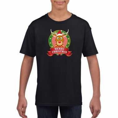 Rendier kerstmis shirt zwart voor jongens en meisjes kopen