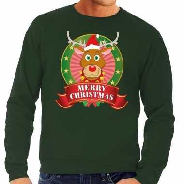 Rendieren kersttrui groen merry christmas heren kopen