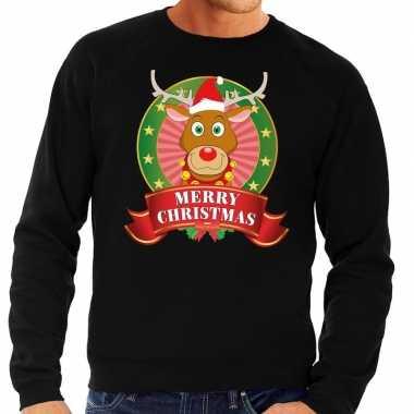 Rendieren kersttrui zwart merry christmas heren kopen