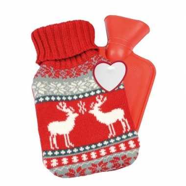 Rode kerst/winter kruik met gebreide hoes 595 ml kopen