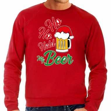 Rode kersttrui / kerstkleding ho ho hold my beer voor heren grote maten kopen