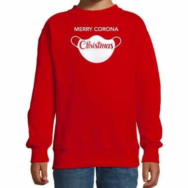 Rode kersttrui / kerstkleding merry corona christmas voor kinderen kopen