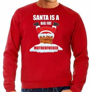 Rode kersttrui / kerstkleding santa is a big fat motherfucker voor heren grote maten kopen