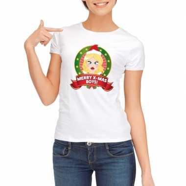 Sexy foute kerstmis shirt wit voor dames merry x-mas boys kopen