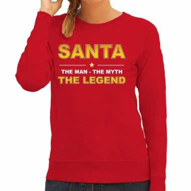 The man, the myth the legend santa sweater / kersttrui rood voor dames kopen