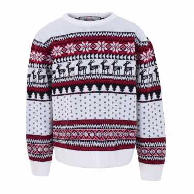Witte kersttrui voor kinderen nordic print kopen